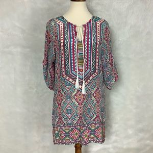 Tolani Pink Blue Tribal Silk Cover Up Tunic